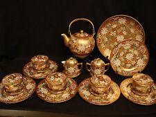 Marked Shuzan Japanese Taisho Satsuma Thousand Flower Tea Set Cup & Saucer Plate