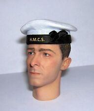 Banjoman 1:6 escala Custom Segunda Guerra Mundial canadiense Royal Navy Marinero's Cap-Blanco