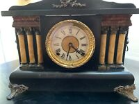 Antique Ingraham Adamantine Pillar Column Mantle Shelf Clock Works Chimes