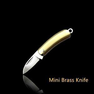 Mini Drop Point Folding Knife Pocket Hunting Survival Wild Brass Handle Keychain