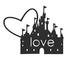 PREMADE-SCRAPBOOK-PAPER PIECING-FOR LAYOUT-ALBUM-DISNEY-CASTLE-HEART-LOVE