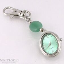 MONEY ARGENT GREEN LADIES CLIP WATCH SILVER TONE NEW BATTERY