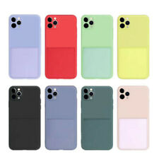 For iPhone 12 11 Pro Max XS 8 7 Liquid Silicone Slim Soft Card Holder Case Cover