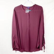 Roaman's Women's Blouse Size 28W Burgundy Wine Long Tie Sleeves NEW