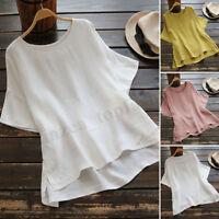 Womens Summer Short Sleeve T-Shirt Casual Asymmetrical Hem Blouse Tee Shirt Plus