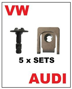 5 Sets VOLKSWAGEN AUDI Under Tray Engine Cover U Nut and Screw Fasteners
