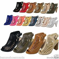 New Women Cut Out Strappy Peep Toe Wooden High Heel Sandals Ankle Buckle Shoes