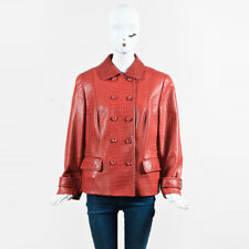 Escada Red Lamb Leather Embossed Double Breasted Jacket SZ 44