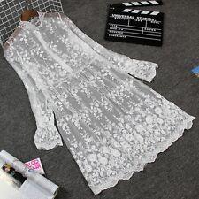 Women Long Sleeve Lace Net Yarn Dress Extender Slip UnderSkirt Bottom Skirt Leaf