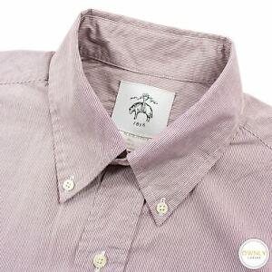 Brooks Brothers Black Fleece Mauve Cotton Striped Button Down Dress Shirt 16.5US