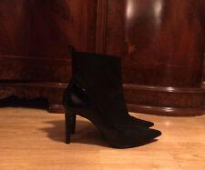 ZARA black suede pointy toe suede ankle slim medium heel boots booties 39 9