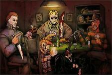 Jason Voorhees/Micheal Myers/Freddy Kruger Slasher Poster Playing Poker!