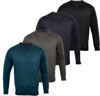 Mens Quality V Neck Thick Jumper Knitted Winter Top M-XXL