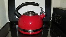 KitchenAid Tea Pot Teapot Kettle C Handle Trim Band Porcelain Red 2 Quart Used