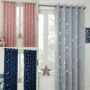 Galaxy Star Thermal Blackout Curtains PAIR Eyelet Ready Made Kids Boys Girls
