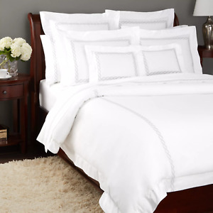 $457 MATOUK CLASSIC CHAIN SILVER EMBROIDERY QUEEN FLAT SHEET 4pc SET SHAM CASES