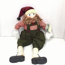Santa Claus Shelf Sitter Dangling Weighted Legs Rustic Country Chestnut Lane