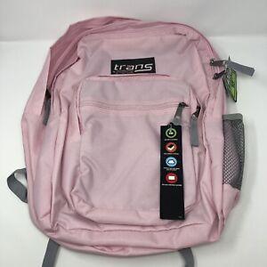 """Trans Jansport Backpack Pink Pastel 15"""" Laptop Sleeve Bookbag Pockets Womens"""