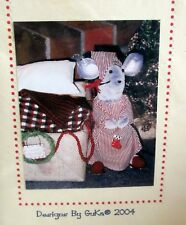 """Christmas Mouse 9"""" Nightshirt & Bed craft sewing pattern by Guka soft sculpture"""