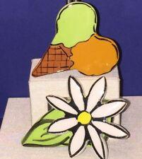 Flower Brooch Pin Lot Signed By Hogan Ceramic Hand Made Ice Cream Cone & Daisy