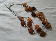 Statement wooden freshwater pearl necklace multistrand bohemian style