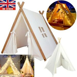 Large Canvas Kids Teepee Indian Tent Children Wigwam Indoor Outdoor Play House