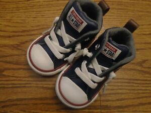 Converse Chuck Taylor All Star sz 4 navy blue leather high top athletic shoes Ex
