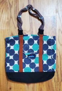 Ocean Dot Kavu Shoulder Bag With Rope Strap & Pockets Blue circles Tote