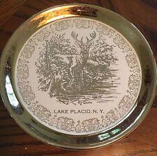 Lake Placid New York Souvenir Plate 22k Gold Trim