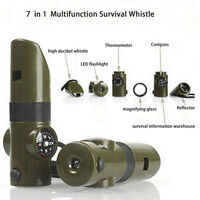 7 IN 1 Multifunction Whistle Compass Thermometer Magnifying Glass LED Light