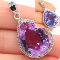 32x19mm Big Special Water Drop Color Changing Alexandrite & Topaz Silver Pendant