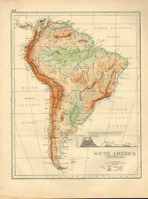 1897 VICTORIAN MAP ~ SOUTH AMERICA PHYSICAL ~ HEIGHTS & MOUNTAINS