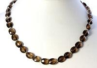 Rauchquarz Kette edelsteinkette Halskette Collier Oval facettiertte 925 Silber