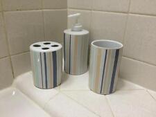 Elegant Pastel Blue Stripe Ceramic Bathroom Accessory Set Bath Decor