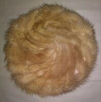 Vintage Lazarus Golden Mink Tails Pillbox Hat Swirl Design VGUC