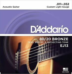 D'Addario EJ13 Acoustic 80/20 Bronze Guitar Strings - Custom Light