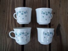 Corning Corelle Set of 4 Forget Me Not Coffee Tea Cups Mugs Blue White Floral