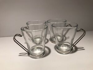 Bormioli Rocco Espress/Cappucino Glass Mugs with Metal Handles -Italy Set of 4