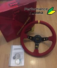 NEW UNIVERSAL RED OMP SUEDE 350MM DEEP DISH RACING SPORT STEERING WHEEL ANY CAR