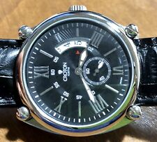 CROTON Men's Stunning Silver & Black Case N Cradle Quartz Watch On XL Leather