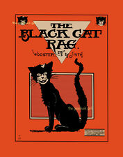 THE BLACK CAT RAG 8x10 Vintage Halloween black cat animal sheet music Art print