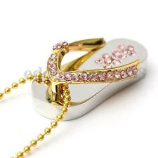 32GB Pink Crystal Slipper Design USB 2.0 Flash  Drive Memory Stick Necklace Gift