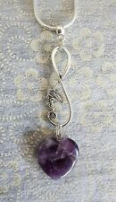 LOVE INFINITY PENDANT WITH AN AMETHYST HEART GEMSTONE ON A 50CM SP NECKLACE