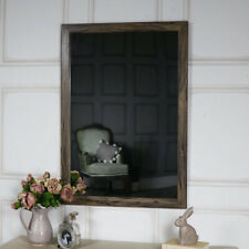 Large rustic washed effect wall mounted mirror vintage shabby chic bathroom