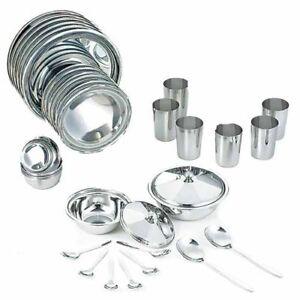 Stainless Steel Dinner Set Plates Bowl Vati Glass Spoon Serving Bowl Spoon 34Pcs