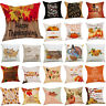Happy Fall Thanksgiving Day Cushion Cover Linen Pillow Case Hotel Home Decor New