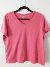 L L Bean Womens Short Sleeves V Neck T Shirt Top Pink XL 100% Supima Cotton