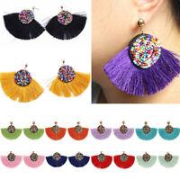 Bohemia Women Tassel Drop Beads Earrings Dangle Jewelry Seed Fan Fashion Thread