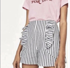 New Zara High Waisted Ruffle Stripe Shorts Size Small