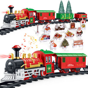 Train Set Vintage Steam Train Toy w/ Light Music For Kids Christmas Gift Toys